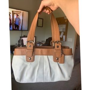 Coach Ivory & Brown Pleated Leather Shoulder Bag
